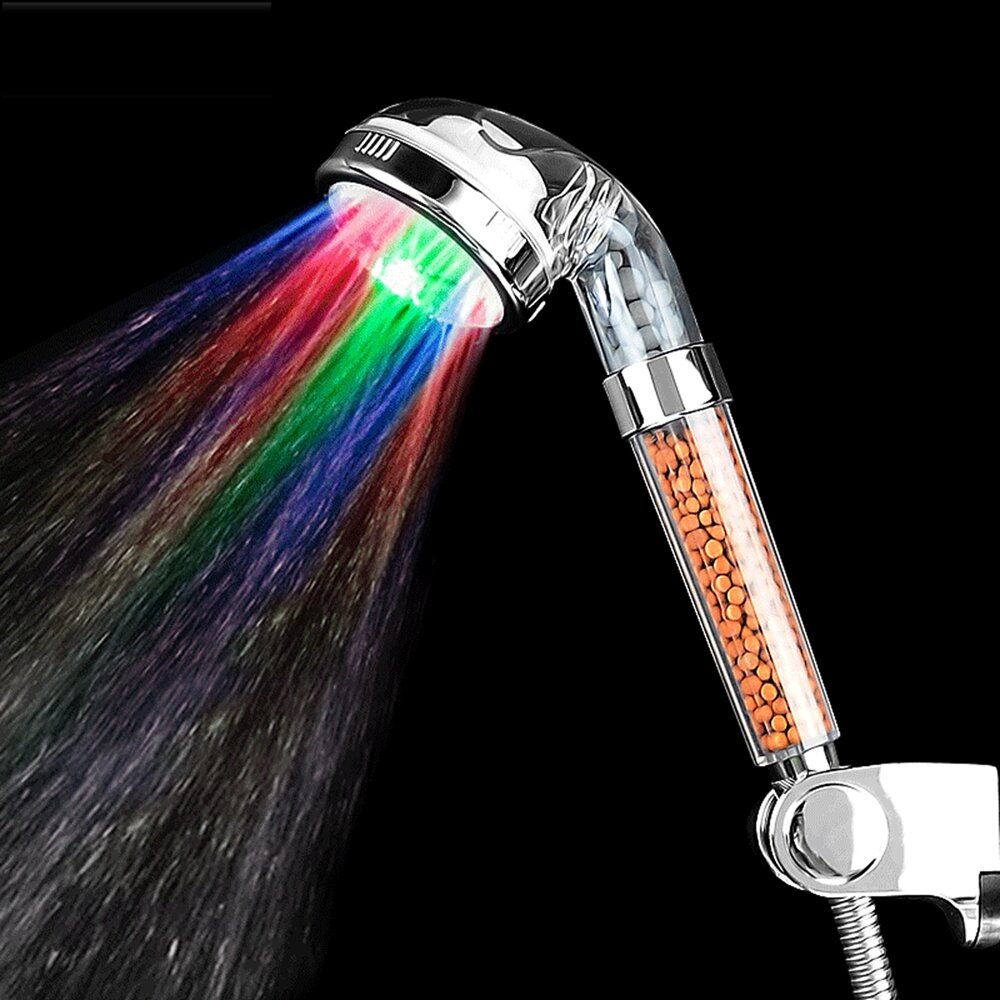 NEW Colorful Head Home Bathroom LED Shower Water Glow Light
