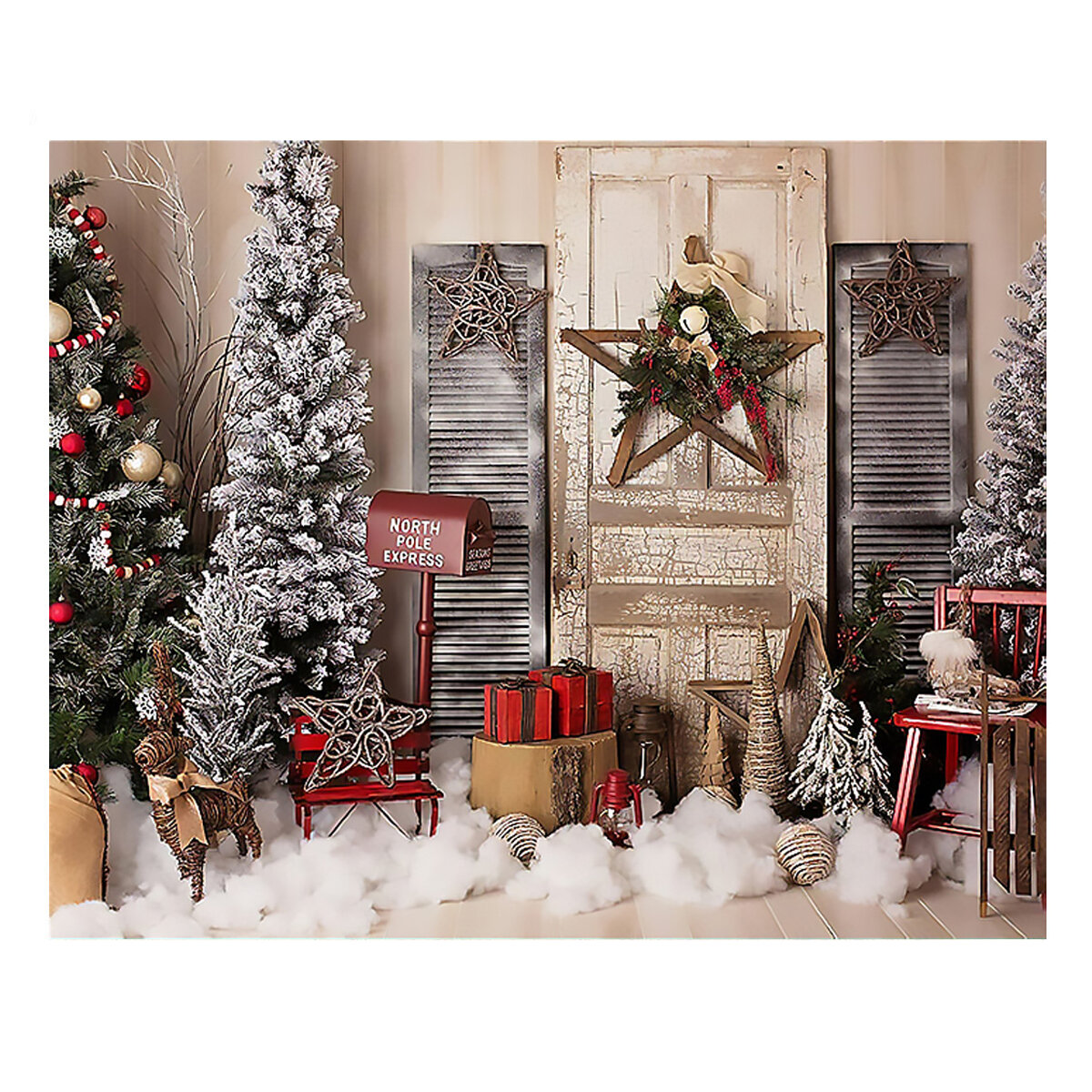 Christmas Photography Backdrops Christmas Tree Door Stars Background Cloth for Studio Photograph Backdrop Prop