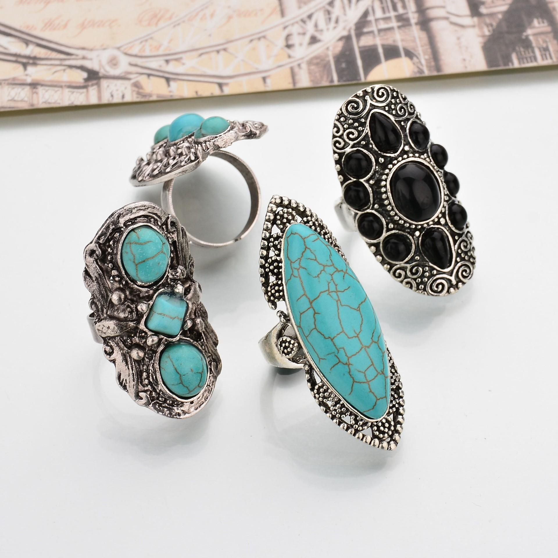 Bohemian Retro Blue Turquoise Ring Sliver Carved Women Rings Accessories