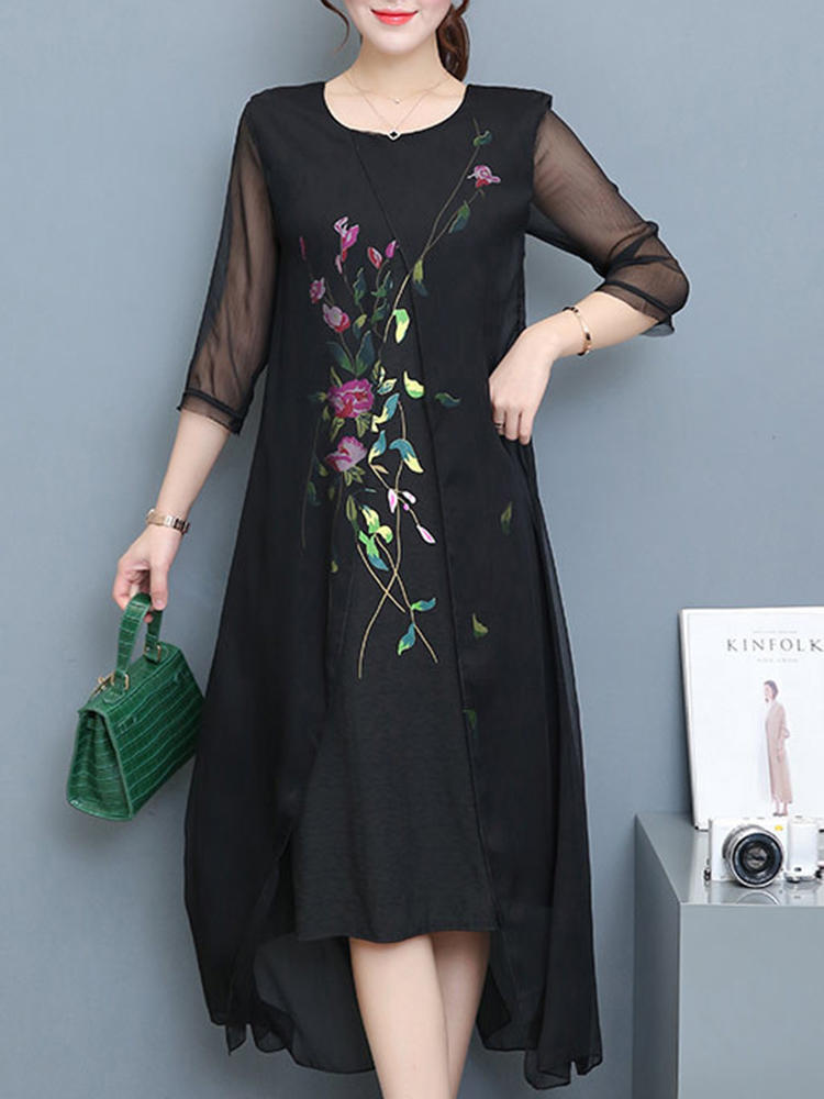 Vintage Women Floral Embroidery Fake Two Pieces Mid-long Dress
