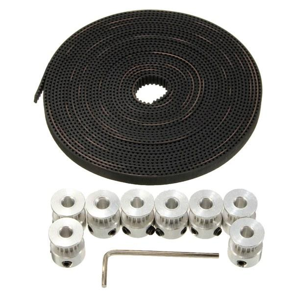 8 Pcs GT2 16T Bore 5mm Timing Pulley 5M Belt For RepRap Prusa Mendel 3D Printer