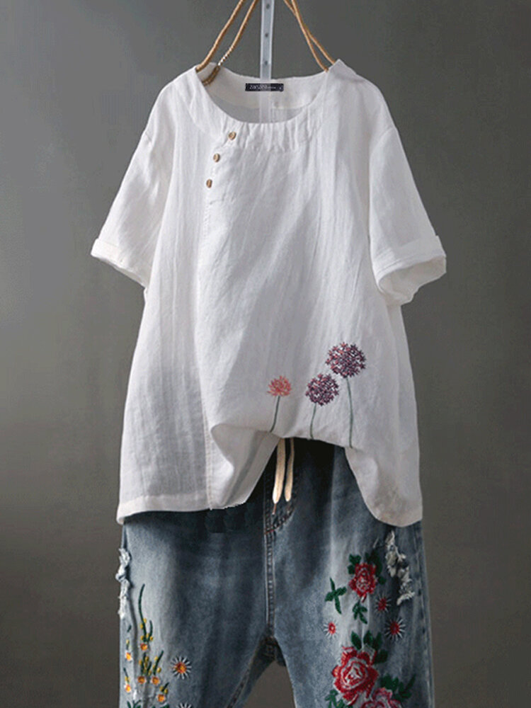 Women Short Sleeve O-neck Floral Embroidery Vintage Blouse