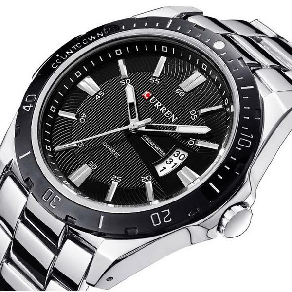 CURREN 8110 כסף שחור תאריך ספורט נירוסטה רצועה גברים שעון היד