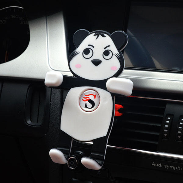 Universal Panda Shape Silicone Car Mount Air Vent Phone Holder Stand for iPhone Samsung Xiaomi MIX2
