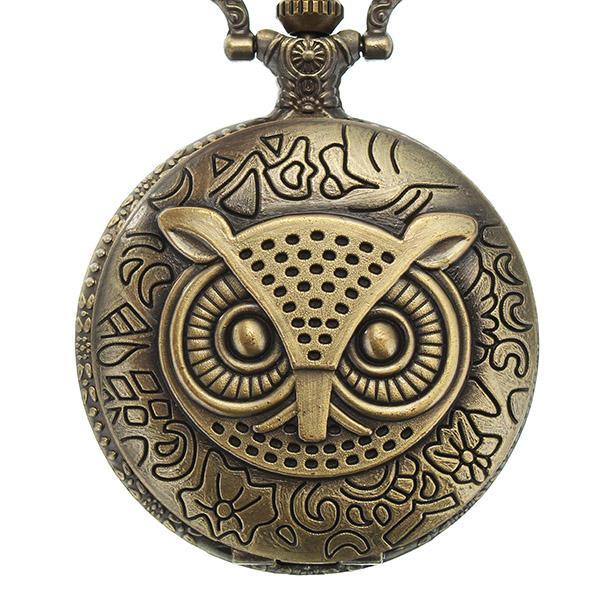 DEFFRUN XHB02 Mode Bronze Pocket Perhiasan Owl Pola Kalung Vintage Rantai Kuarsa Menonton