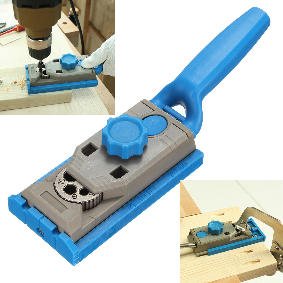 Round Wood Tenon Locator Drilling Positioner Drill Hole Woodworking Tool Pocket Hole Jig