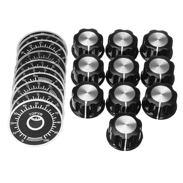 10 Sets MF-A03 Bakelite Potentiometer Knob Cap Hat + 0-100 Digital Dial Scale Plate