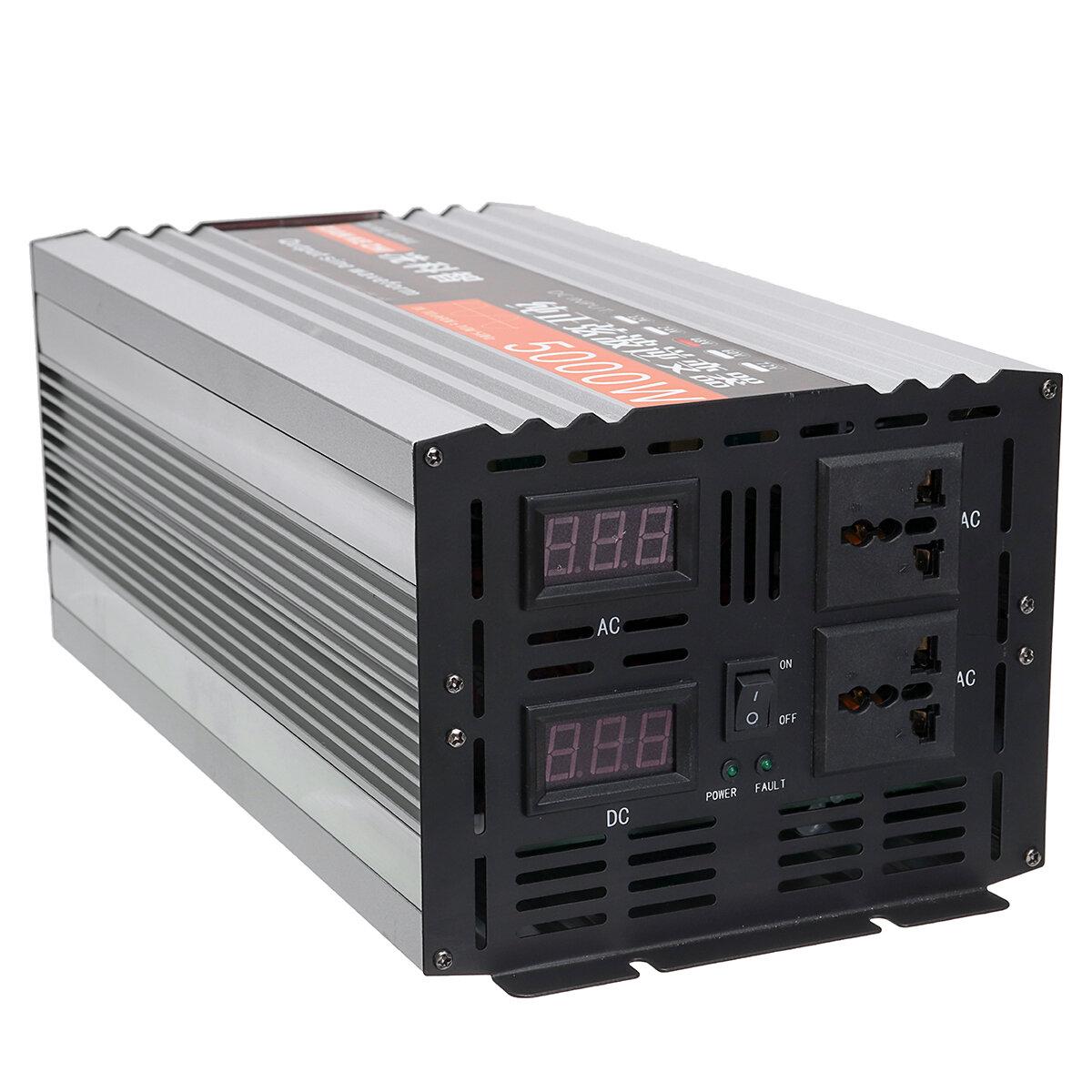 Màn hình LED biến tần tinh khiết hình sin kép 5000W Bộ biến tần nguồn 12V / 24/48 / DC sang 220 V AC