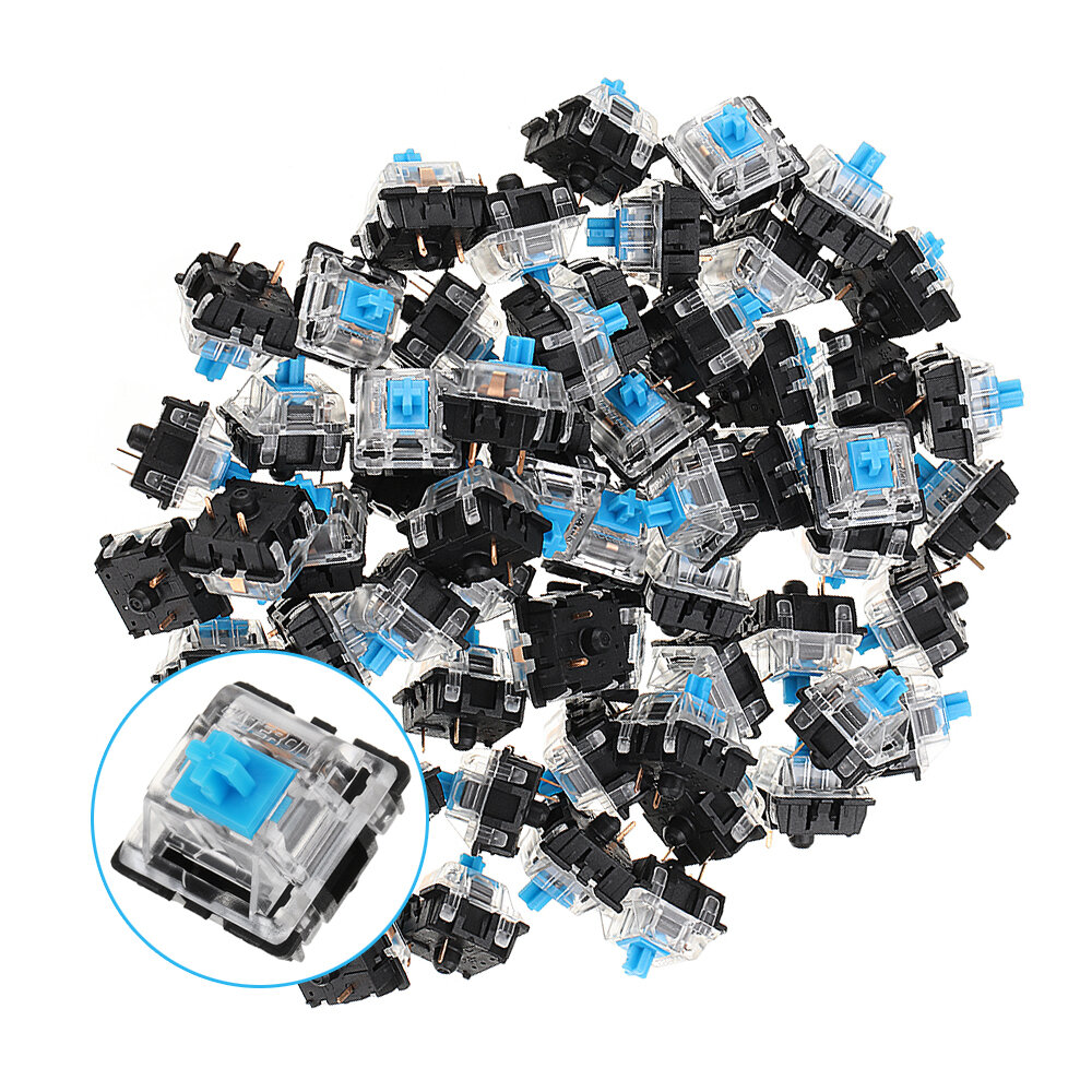 70PCS Pack 3Pin Gateron Clicky Interruptor azul Teclado Interruptor para Mecánico Juegos Teclado