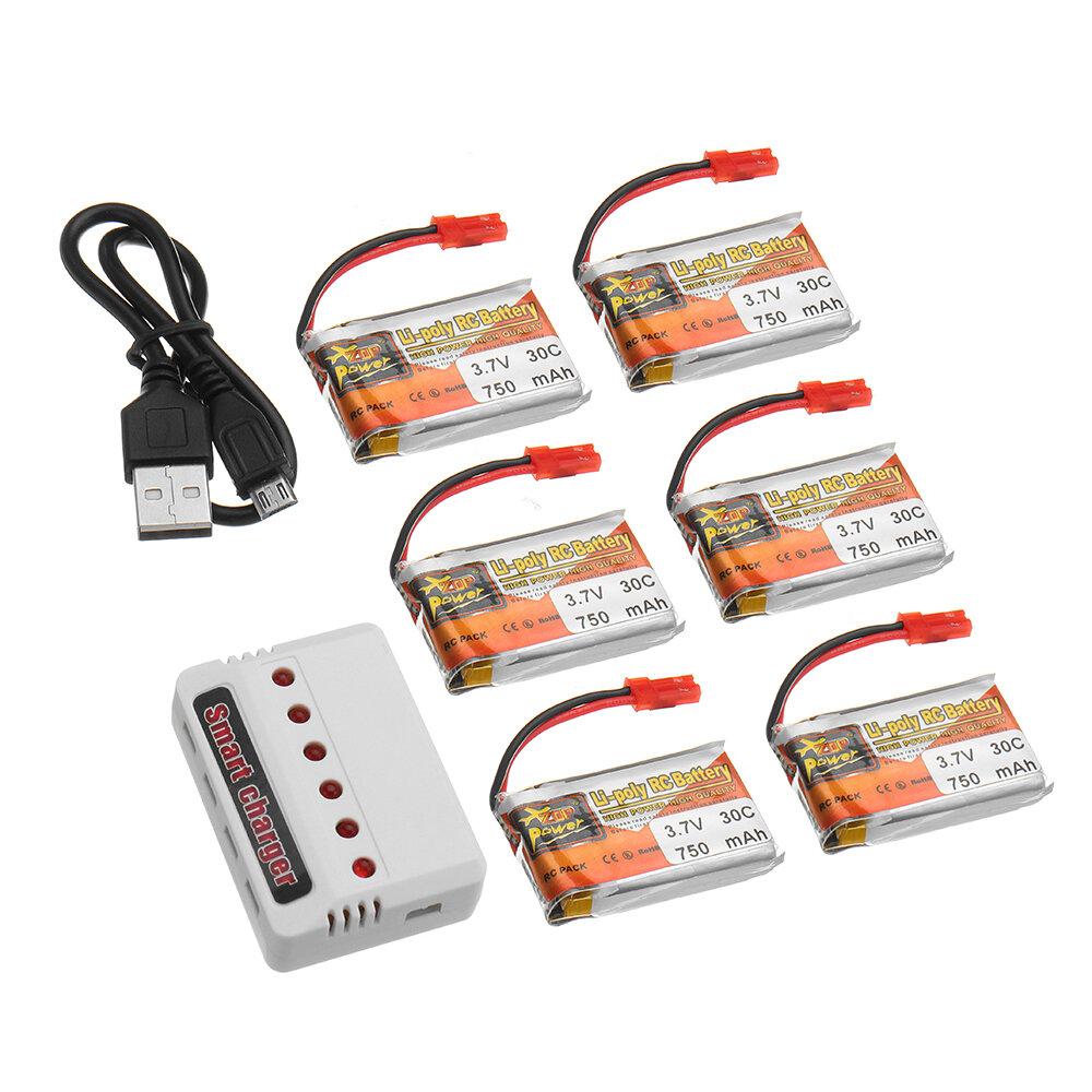 6Pcs ZOP POWER 3.7V 750mAH 30C 1S Lipo Батарея JST Plug с зарядным устройством для модели RC