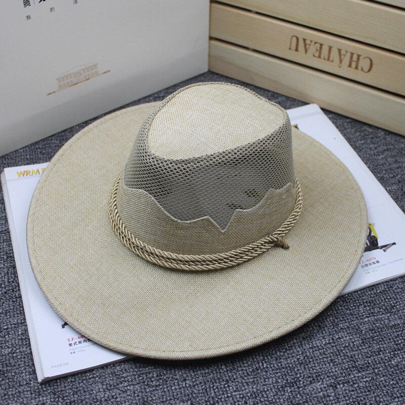 Men Women Outdoor Mesh Breathable Cowboy Hat Travel Sunshade Visor Hat