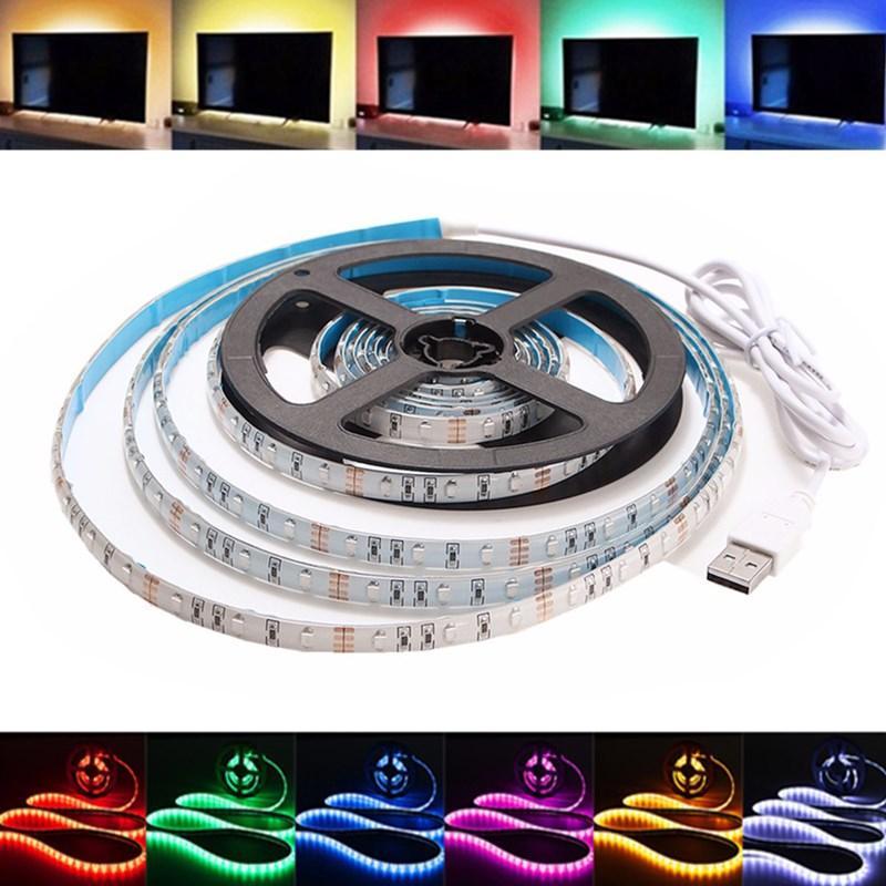 1m impermeable usb smd3528 tv background computer LED tira cinta flexible luz dc5v