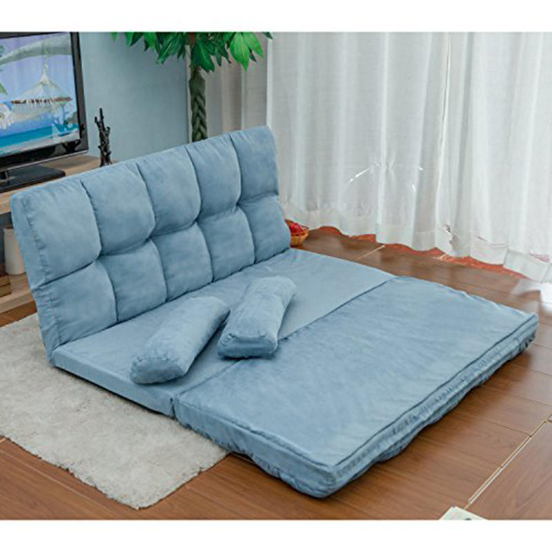 Double Chaise Lounge Sofa Chair Floor Couch Multi-functional Lazy Sofa with  Two Pillows (Blue)