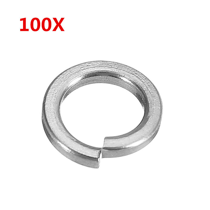 100Pcs M4 304 Stainless Steel Split Lock Washers Spring Washers