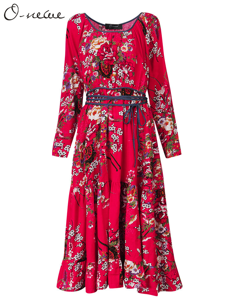 Elegant Women Flower Printed Ruffle A-line Dress With Belt