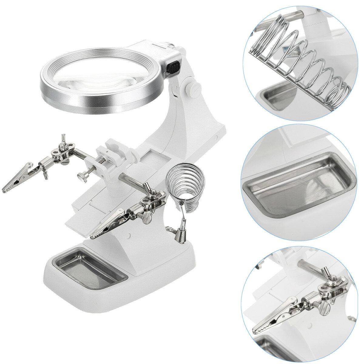 DANIU multifunctionele lasvergroter LED Helpende hand soldeerbout staander Vergroten lensvergroter klem hulpmiddel