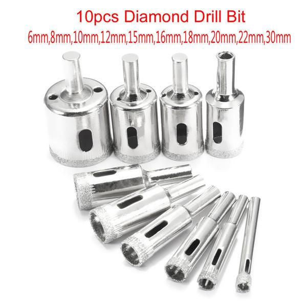 New 10 PCS 6mm Hole Saw Set Glass Ceramic Marble Tile Diamond Tool Drill Bit