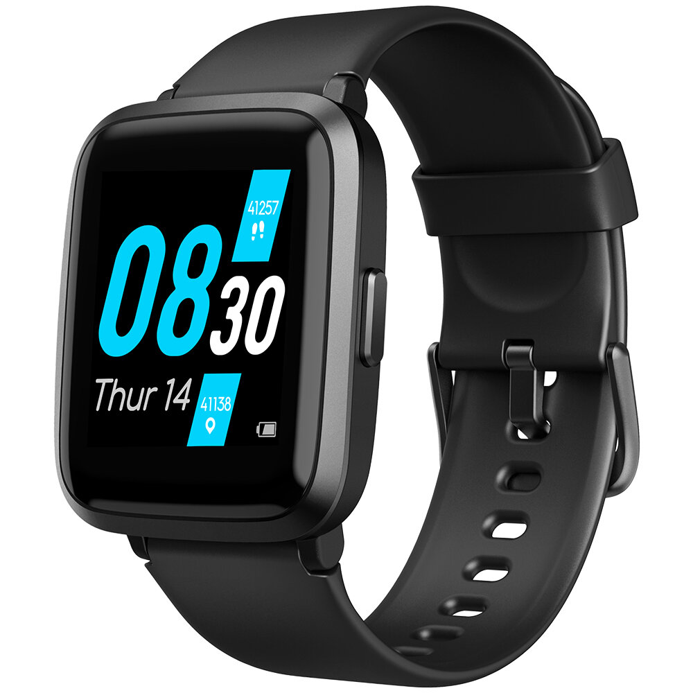 [SPO2 Monitor]UMIDIGI UFit BT5.0 Full Touch Screen Oximeter Blood Pressure PPG Heart Rate Female Health Monitor 5ATM Waterproof Smart Watch - Black