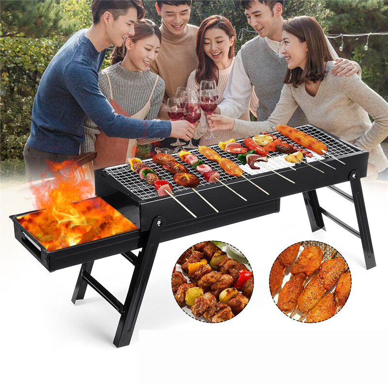 3-5 People Outdoor Portable Folding BBQ Grill Charcoal Barbecue Cooking Stove Camping Picnic