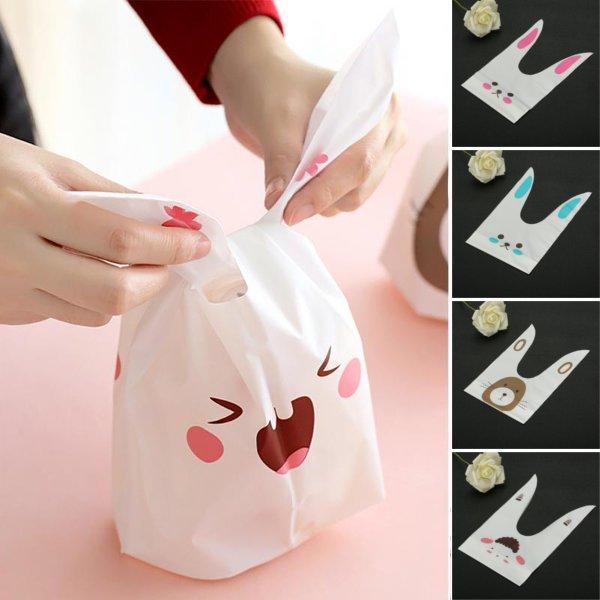 50 unids Cute Easter Bunny Cookies Bolsa Boda Decoración Conejo Kawaii Oreja Caramelo de plástico Bolsa
