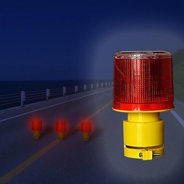 Solar Powered Traffic Warning Light LED Safety Signal Beacon Emergency Alarm Lamp