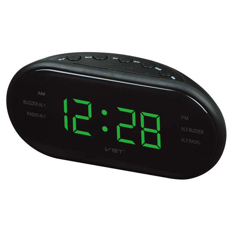 Led AM FM Radio Digital Brand Alarm Reloj Retroiluminación Snooze Electronic Designer Home Table Reloj Radio Despertador Digital Led