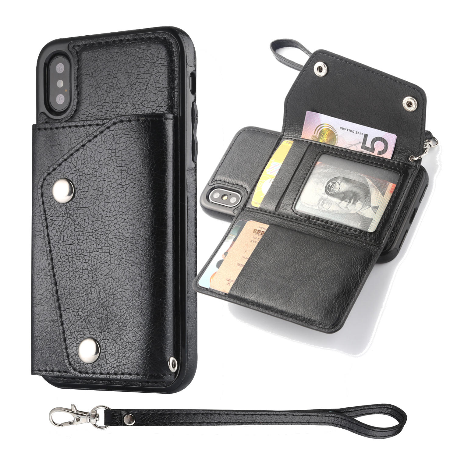 Bakeey Classic PU Leather Wallet Card Slots Bracket Case for iPhone X