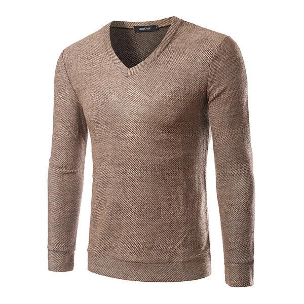 पुरुषों आरामदायक वी-गर्दन नीचे बुना हुआ टॉप Tees ठोस रंग लंबी आस्तीन स्वेटर टी शर्ट
