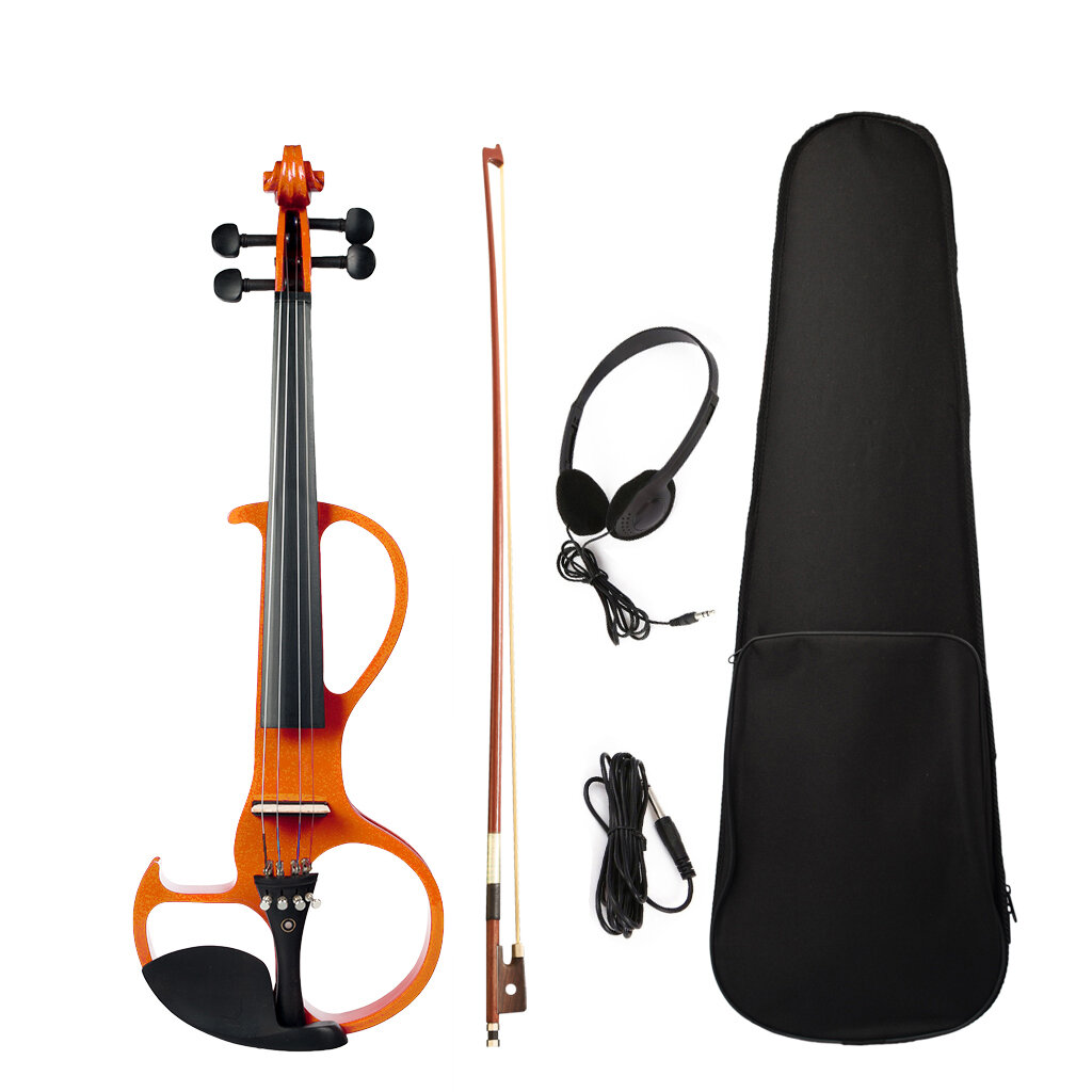 NAOMI 4/4 Full Size Electric Violin Fiddle 4 String Violin with Ebony Fittings, Carrying Case, Audio Earphone, Cable, Bo