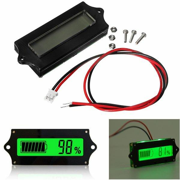 GY-6 Y6 12V 24V 36V 48V Lead Acid Battery 2-15S Lithium Battery Universal Adjustable 6-65V Green Screen Waterproof LCD Capacity Display Board Indicator Digital Voltmeter