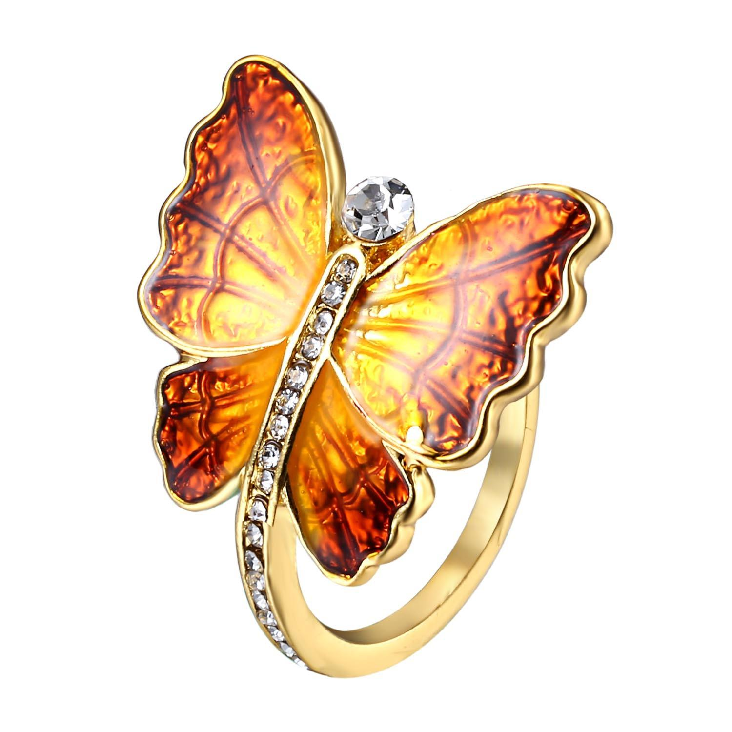 Sweet Enamel Butterfly Insect Diamond Rings Gift for Women, Banggood  - buy with discount
