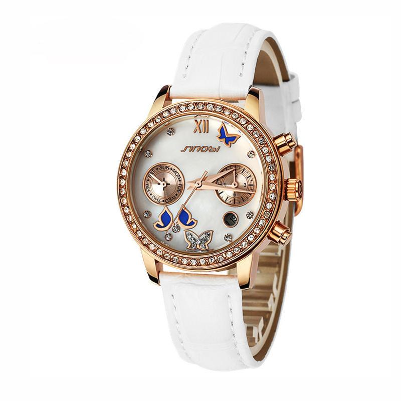 SINOBI 6556 Vỏ pha lê Bướm Nữ Dây đeo bằng da Nữ Dress Thạch anh Đồng hồ đeo tay