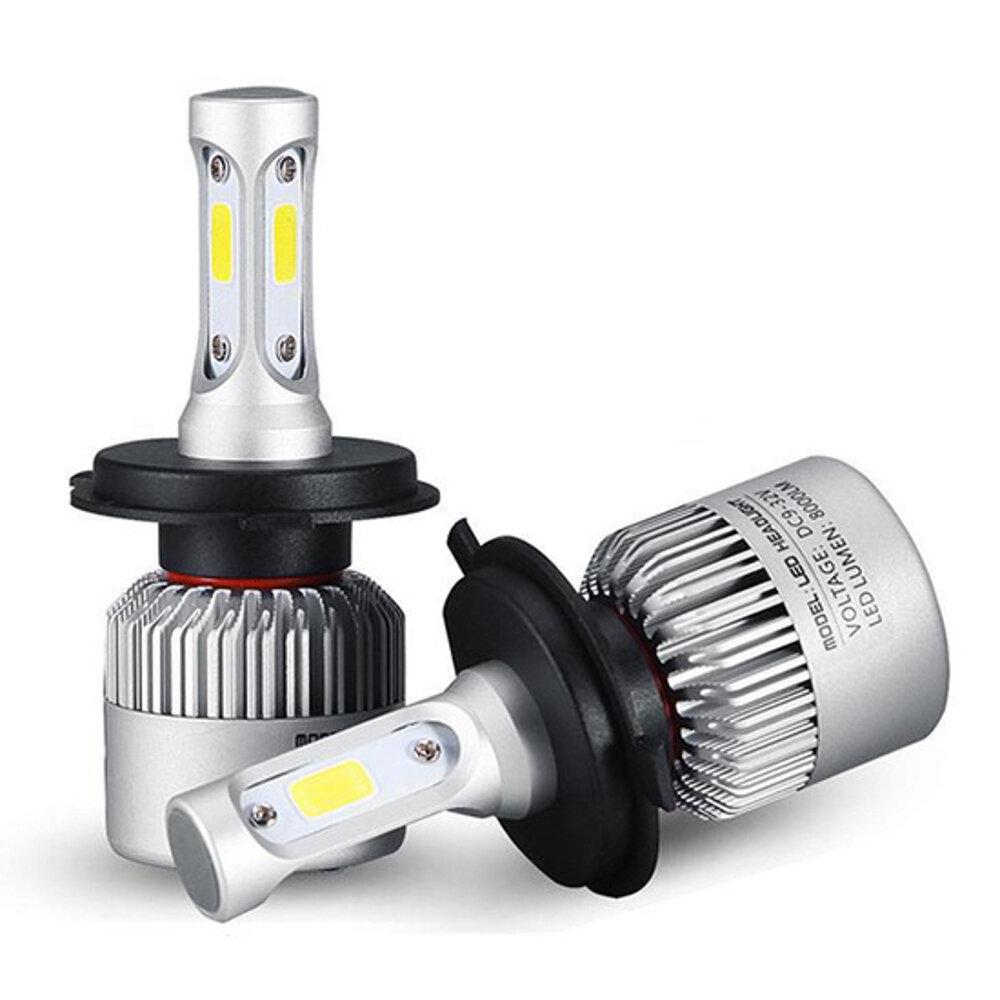 72W 8000LM COB LED Car Headlights Bulbs Fog Lamps H4 H7 H11 9005 9006 6500K White 2PCS