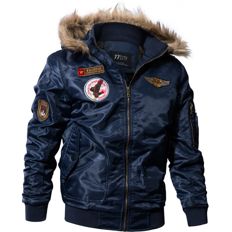 fb6a592ca Men Pilot Bomber Jacket Army Military Flight Motorcycle Jackets Winter  Parkas Padded Outerwear