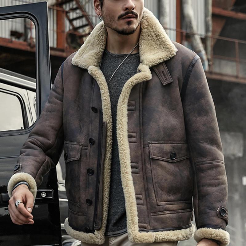 ChArmkpR Mens Biker Jacket Big Pocket Thick Warm Winter Shearling Faux Leather Coats