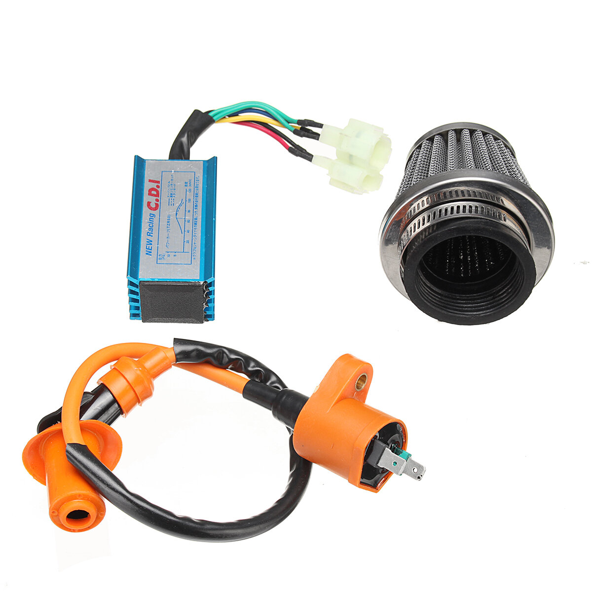 6 Pin Racing AC CDI Box+Ignition Coil +Air Filter For GY6 50-150cc New Racing Cdi Wiring Diagram Ac Cy on