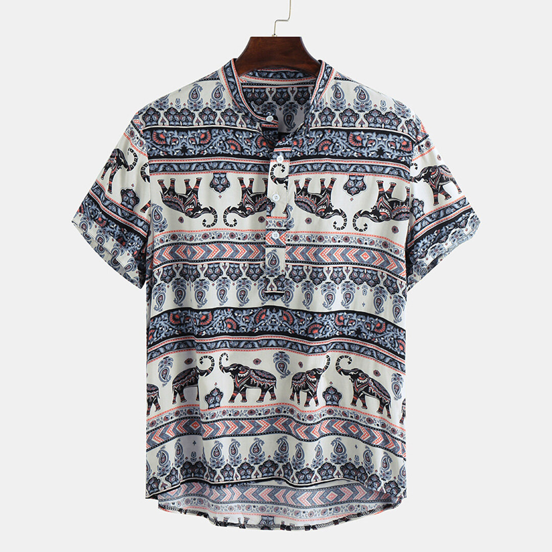 Mens Ethnic Style Pattern Printing Summer Loose Henley Shirts