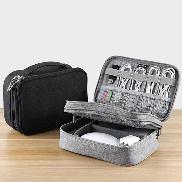 Men Women Multifunction Double Layer Earphone Charging Multiple Compartment Portable Storage Bag
