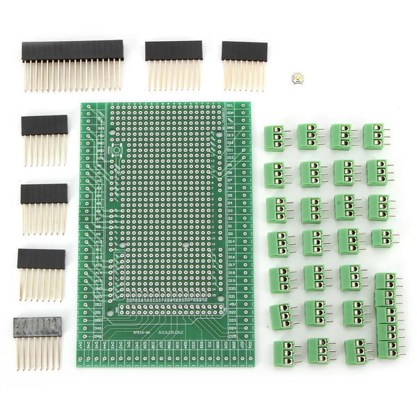 Double-side PCB Prototype Screw Terminal Block Shield Board Kit Mega2560 R3 Geekcreit for Arduino - products that work with official Arduino boards