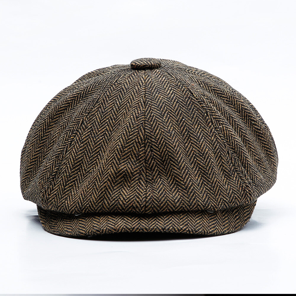 0f0ab2f69 Men Middle-aged Cotton Newsboy Hunting Hat Solid Warm Beret Caps Short Brim  Peaked Cap