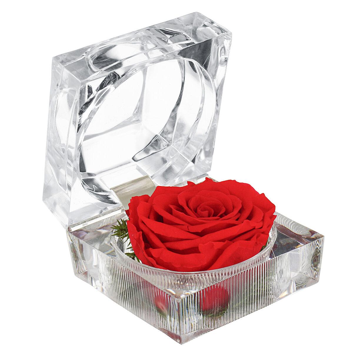 Bunga Abadi Dekorasi Kotak Cincin Colorful Rose Pernikahan Hadiah Kotak Perhiasan