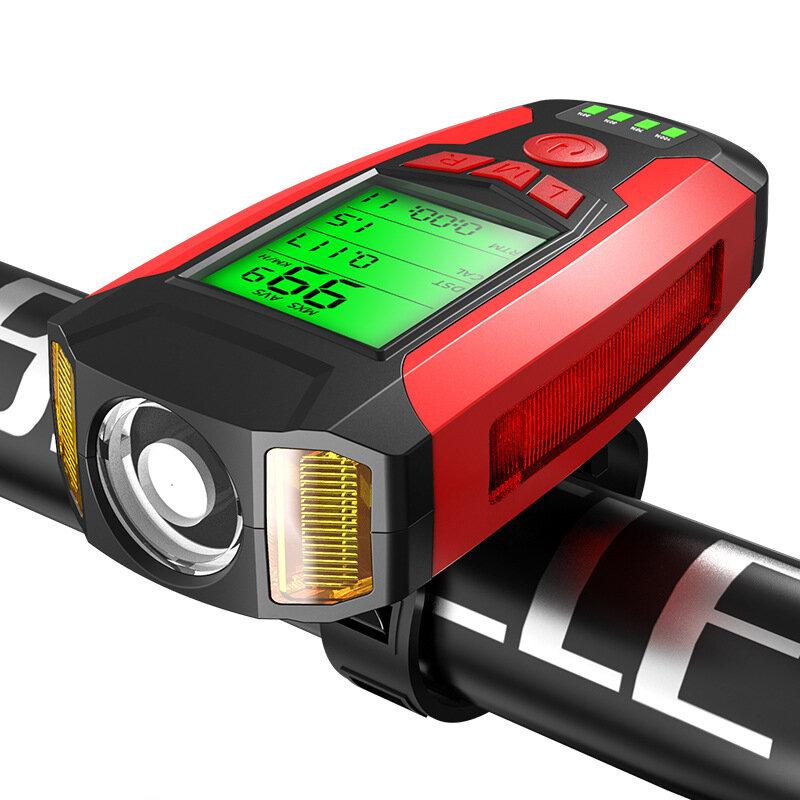 BIKIGHT 3-in-1 350LM COB Велосипедный свет + USB-сигнал Лампа + измеритель скорости LCD Экран 5 режимов Водонепроницаемы