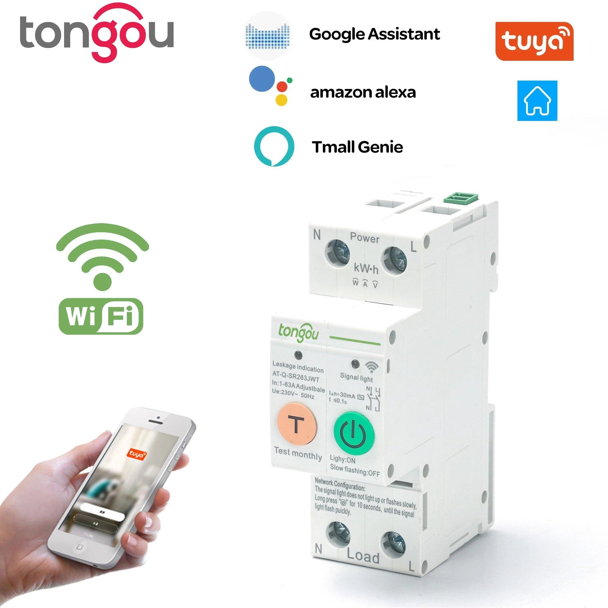 Tongou 2P 63A Tuya Single Phase WIFI Smart Energy Meter Kwh Metering Monitoring Circuit Breaker Timer Relay with Leakage