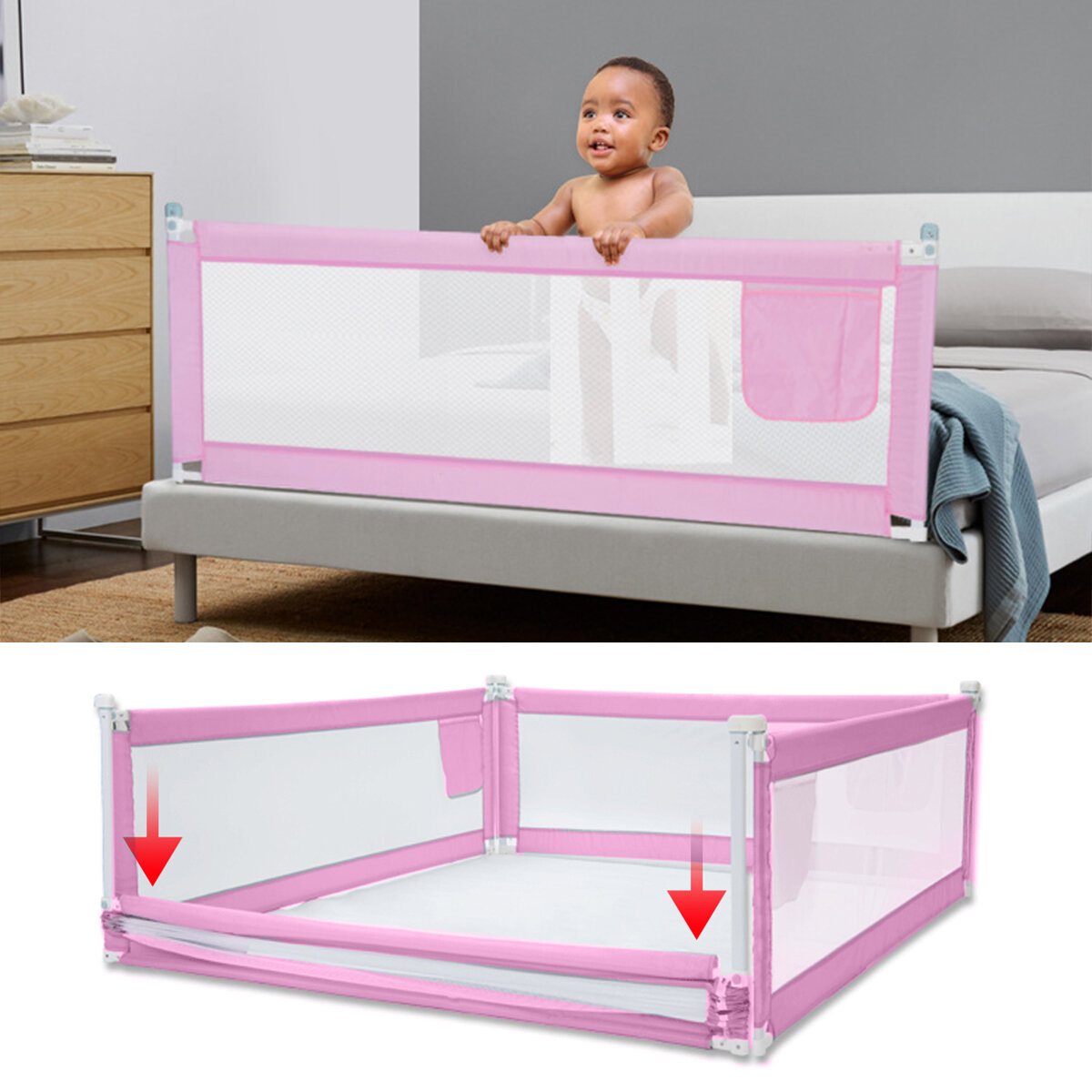 5-Level Adjustable Height Baby Bed Rail Fence Guardrail Infant Toddler Safety Gate Children Protective Gears