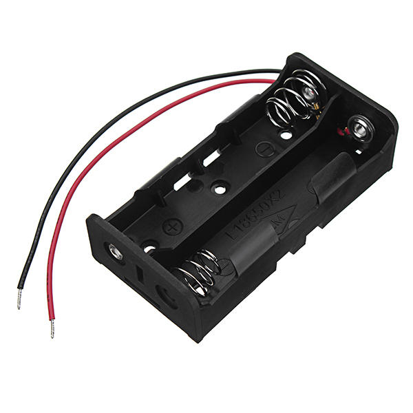 New Version DC 7.4V 2 Slot Double Series 18650 Battery Holder High Quality Battery Box Battery Case With 2 Leads And Spring CE RoHS Certification