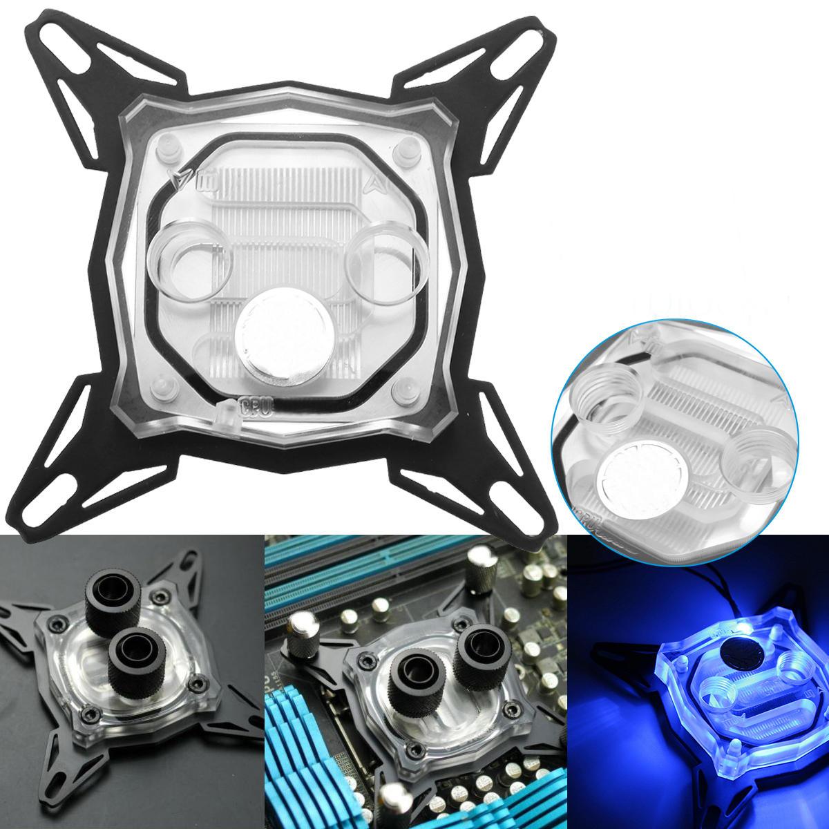 S SKYEE 9cmx9cmx2cm LED CPU Water Block Waterblock for INTEL Cooling