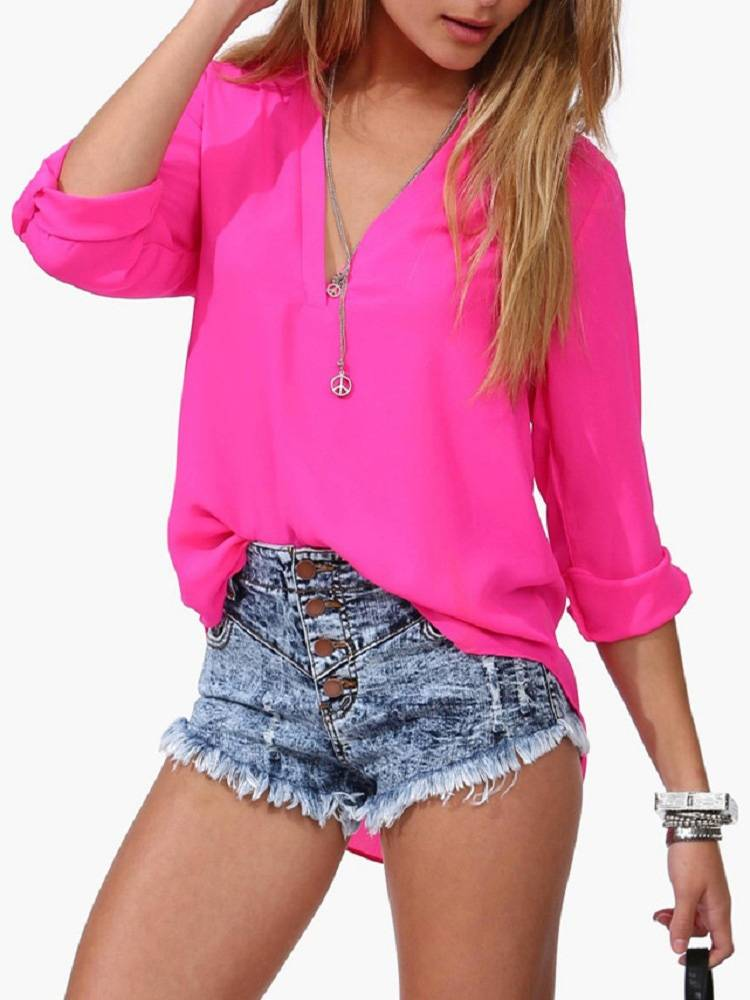 Women Candy Long Sleeve V Collar Loose Chiffon OL Blouse