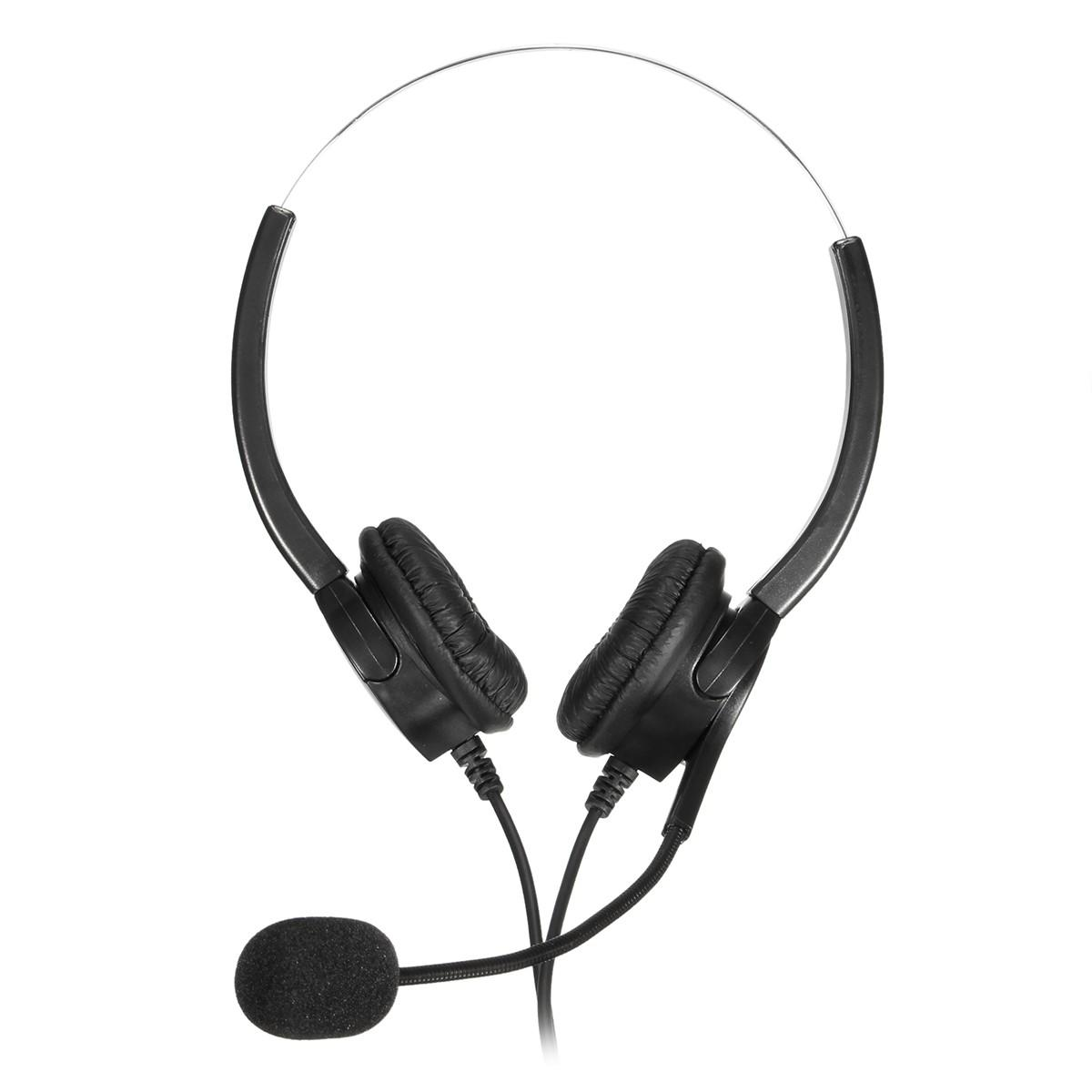 RJ11 Call Center Headset Telephone Corded Wired Microphone Office Head Phone фото