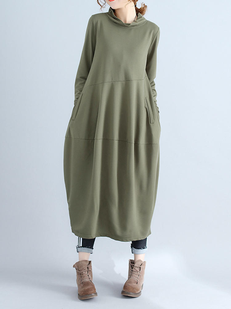 Casual Women Solid Color Loose Stand Collar Long Sleeve Dress with Pockets