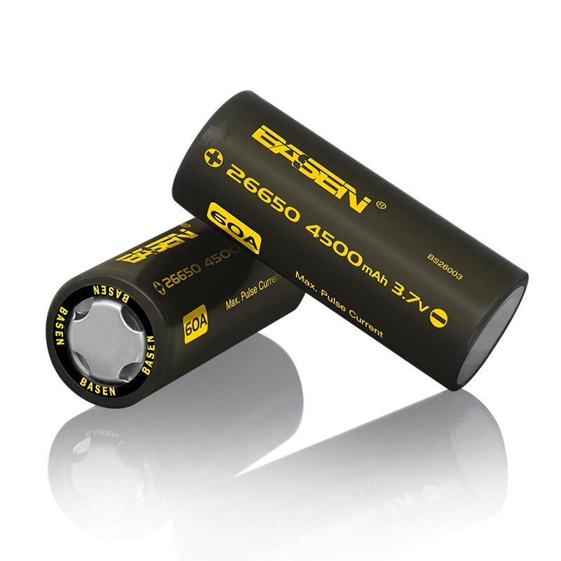 1pcs Basen BS26003 26650 4500mah 3.7V 60A Unprotect Flat Top Rechargeable Li-ion Battery